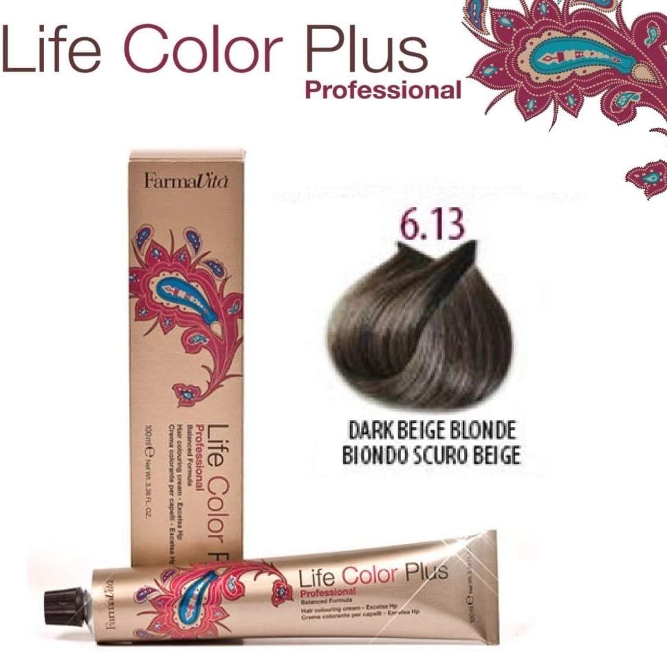 FarmaVita Life Color Plus, Tinte 6.13 Rubio Oscuro Beige - 60 ml