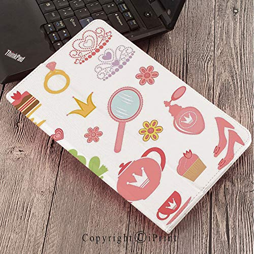 Case for Samsung Galaxy Tab S3 9.7 T820 T825 Slim Folding Stand Cover PU Case, Kids Decor,Princess Tiara Tea Party Mirror Teapot Tea Party Frog Crown Fairy Cupcake Girls ()