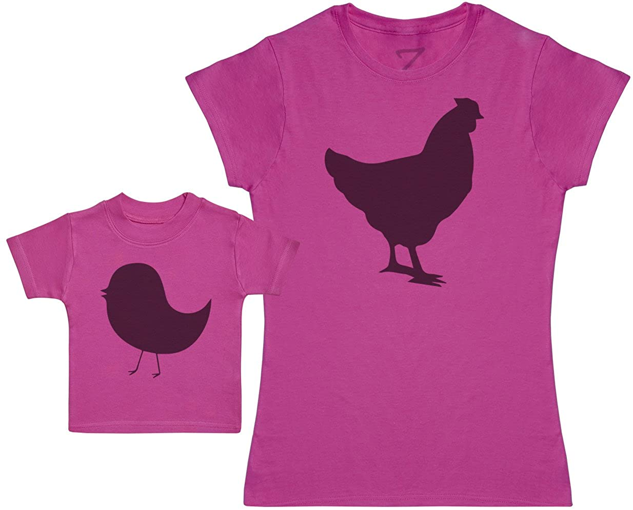 Mother Hen and Chick Womens T Shirt /& Baby T Shirt Matching Mother Baby Gift Set