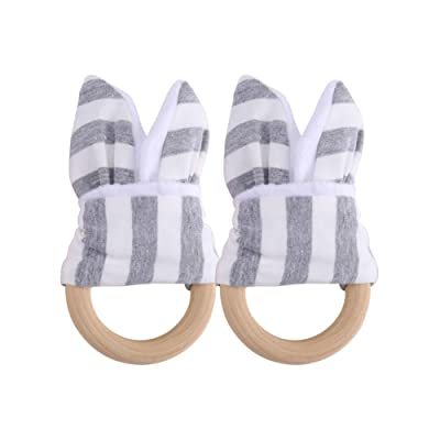 Aisheny Baby Toothbrush Wood Ring Dental Ring Molars (2pc Sold) (3-Grey Stripes) : Baby
