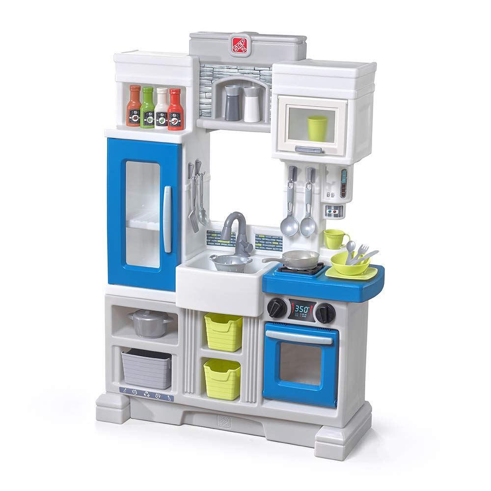Step2 Urban City Kitchen | Small Plastic Play Kitchen & Toy Accessories Set | Blue Kids Kitchen Playset