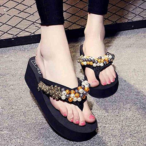 5.5cm Chaussons faits à la main Sandales d'été Flip flops Chaussures de plage pour les 18-40 ans ( taille : EU36/UK4/CN35 )