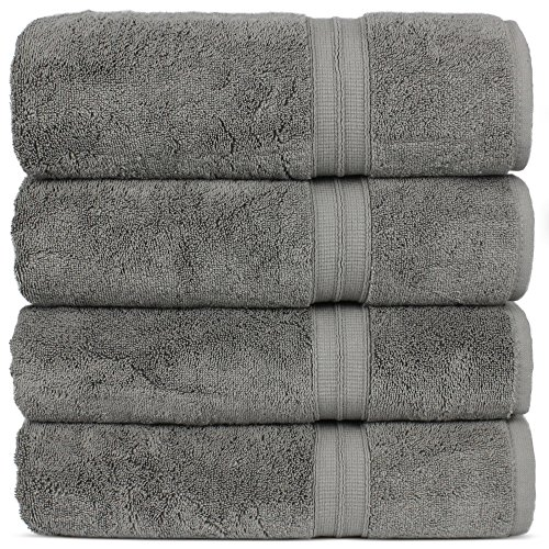 Luxury Premium Turkish Cotton 4-Piece Bath Towels, Long-Stable 20/2, 2 Ply Turkish Ring-Spun Cotton Yarn makes the luxe-factor, Eco-Friendly, (Gray)