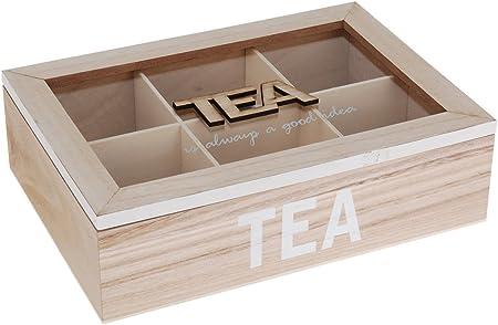 Madera Caja para té 6 compartimentos Tapa de cristal de té (Buzón té Depósito: Amazon.es: Hogar