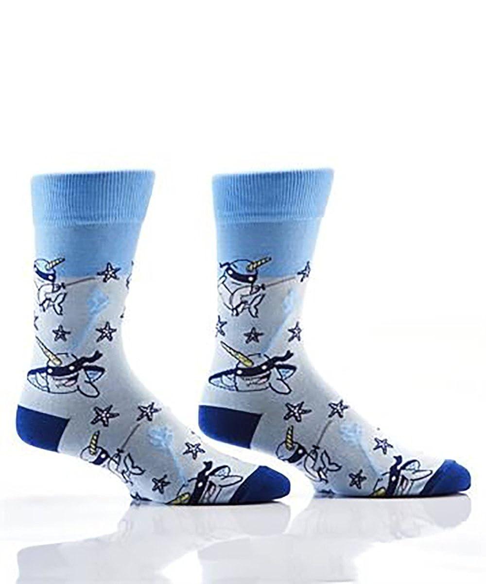 Yo Sox Mens Crew Sock, Ninja Narwhal Fits Shoe Size 7-12.