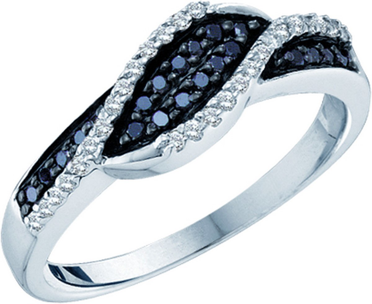 Roy Rose Jewelry 14K White Gold Ladies Black Colored Diamond Crossover Band 1/4 Carat tw ~ Size 7