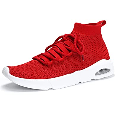 4f98d022ec4e Mens Running Trainers Sock Sneakers Knit Fitness Gym Slip on Lace Sports  Shoes Lightweight Air Cushion Sole Women Shoes Red 38  Amazon.co.uk  Shoes    Bags