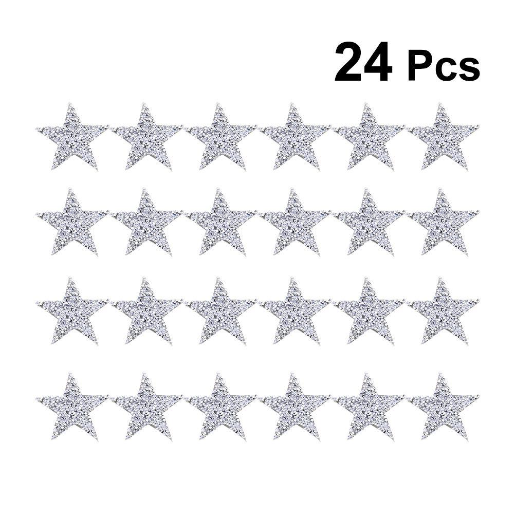 8 cm Argento Vosarea 24 Toppe da Cucire termoadesive a Forma di Stelle