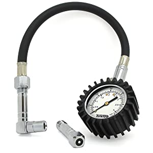 TireTek Flexi-Pro Tyre Pressure Gauge, Heavy Duty Car & Motorbike with Straight & Right Angled Chucks - 60 PSI