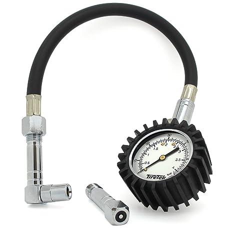 TireTek Flexi-Pro – Manómetro para neumáticos de Coche y Motocicleta (con Rectas y con ángulo Derecho ángulo Mandriles – 60 PSI