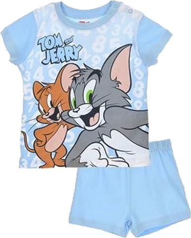 Tom & Jerry - Pijama de verano para niños y niñas, 100% algodón, color azul claro