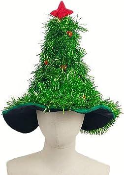 Amosfun Forma de árbol de Navidad Sombrero Sombrero de Paja Lindo ...