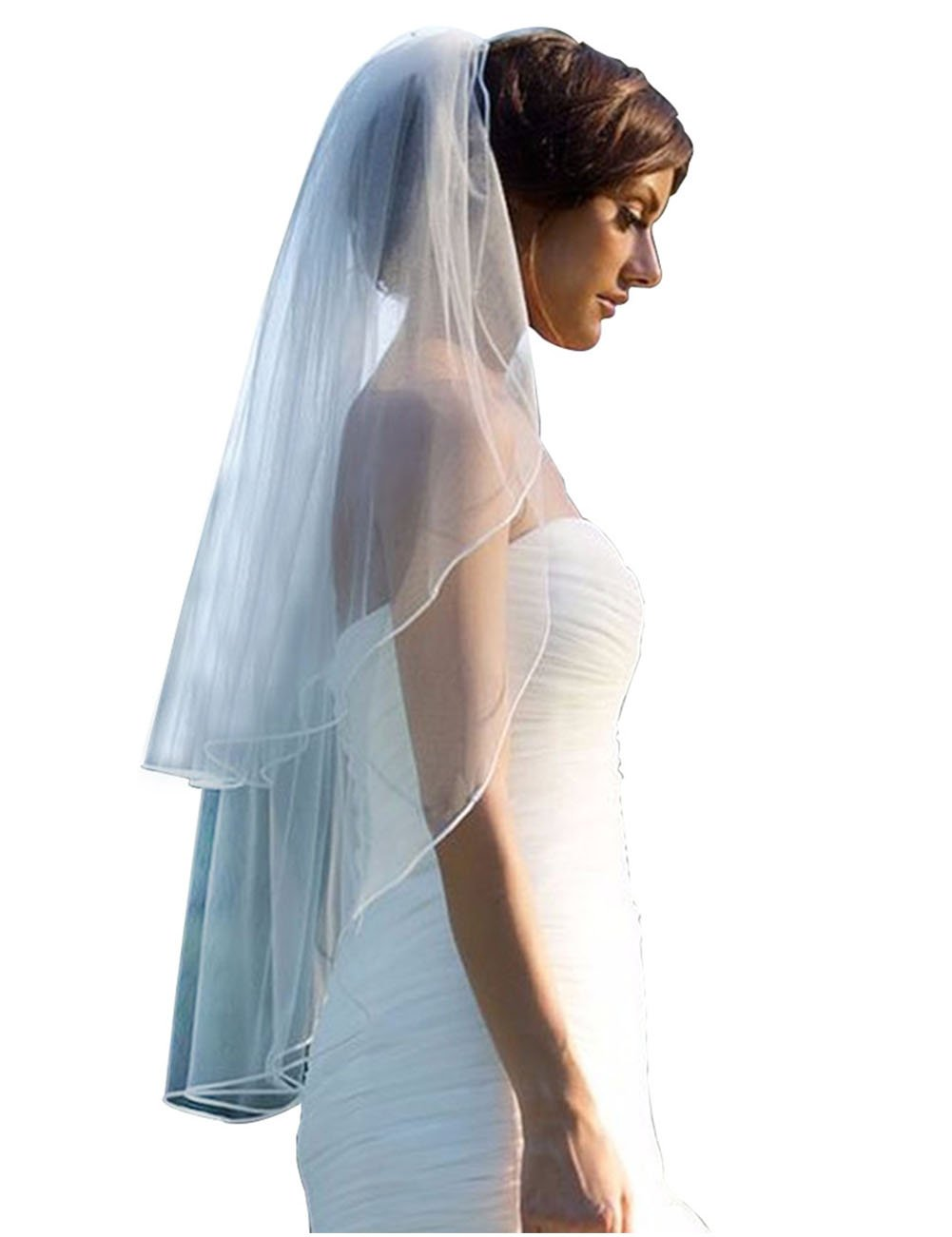 GRACIN Women's 2 Tier Elegant White Bridal Tulle Wedding Veil with Comb (Plastic comb, White)