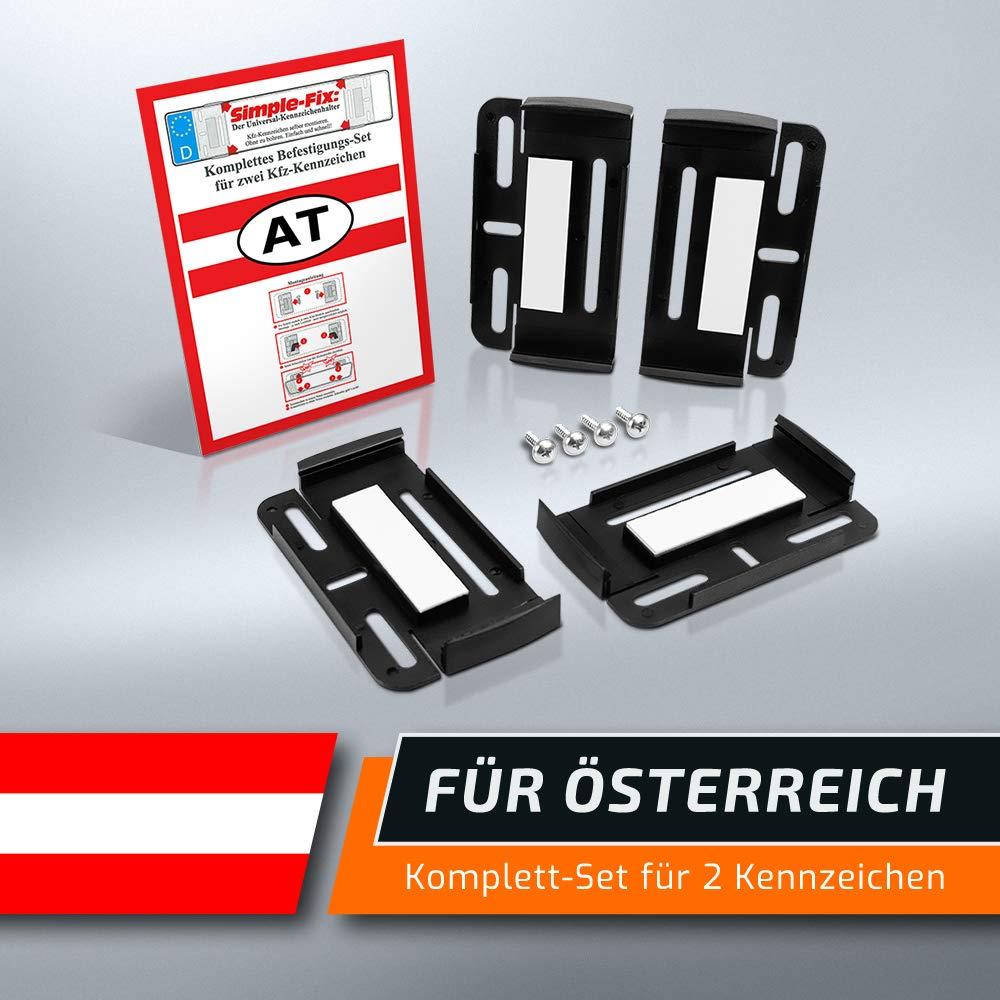 Kennzeichenhalter f/ür /ÖSTERREICH Nummernschildhalterung f/ür 2 Autokennzeichen Set Kfz schildEVO Simple Fix AT Rahmenlose Nummernschildhalter