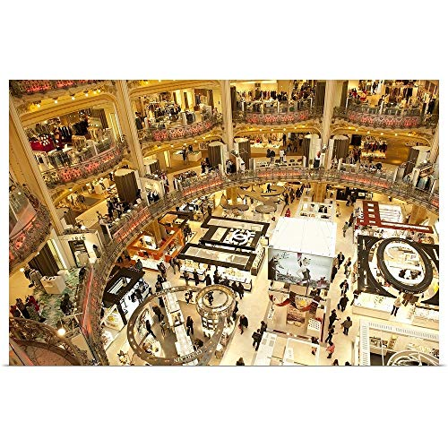 GREATBIGCANVAS Poster Print Entitled Interiors of a Shopping mall, Galeries Lafayette, Paris, ILE de France, France by ()