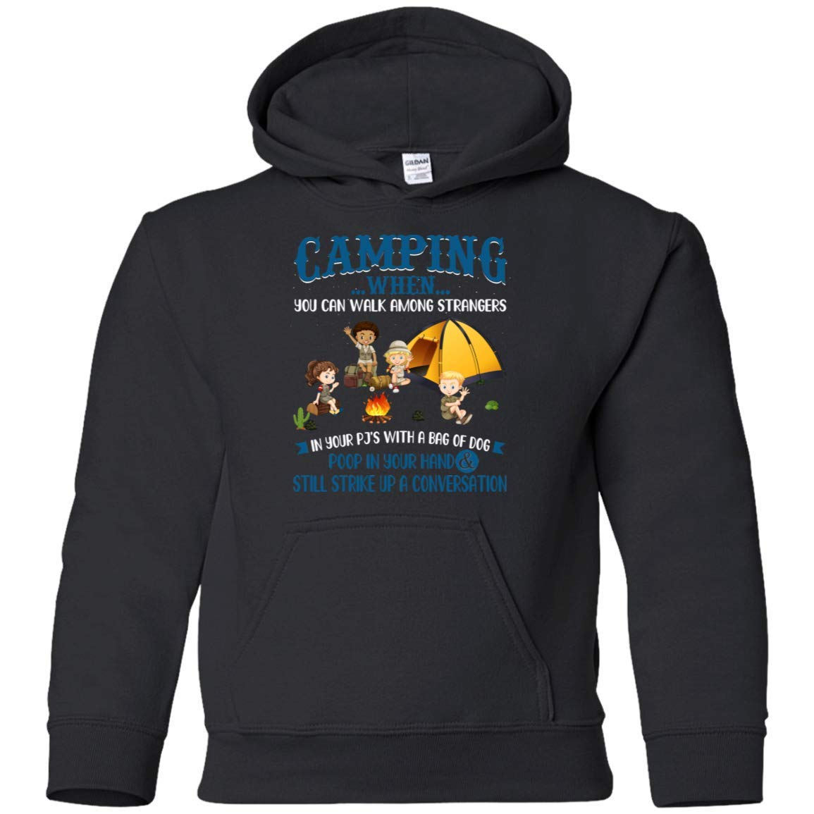 Teely Shop Little Boys Camping When You Can Walk Among Strangers G185B Gildan Youth Pullover Hoodie
