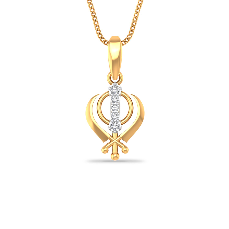 Silvostyles Women's 0.5 Cts Round Sim Diamond Khanda Khalsa Drop Pendant 14K Yellow Gold Fn SNSP3273