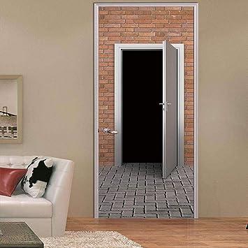 Etiqueta De La Puerta 3D Cuarto De Ladrillo Rojo Negro Autoadhesivo Impermeable Desmontable Dormitorio Decoracion 77X200Cm: Amazon.es: Bricolaje y herramientas