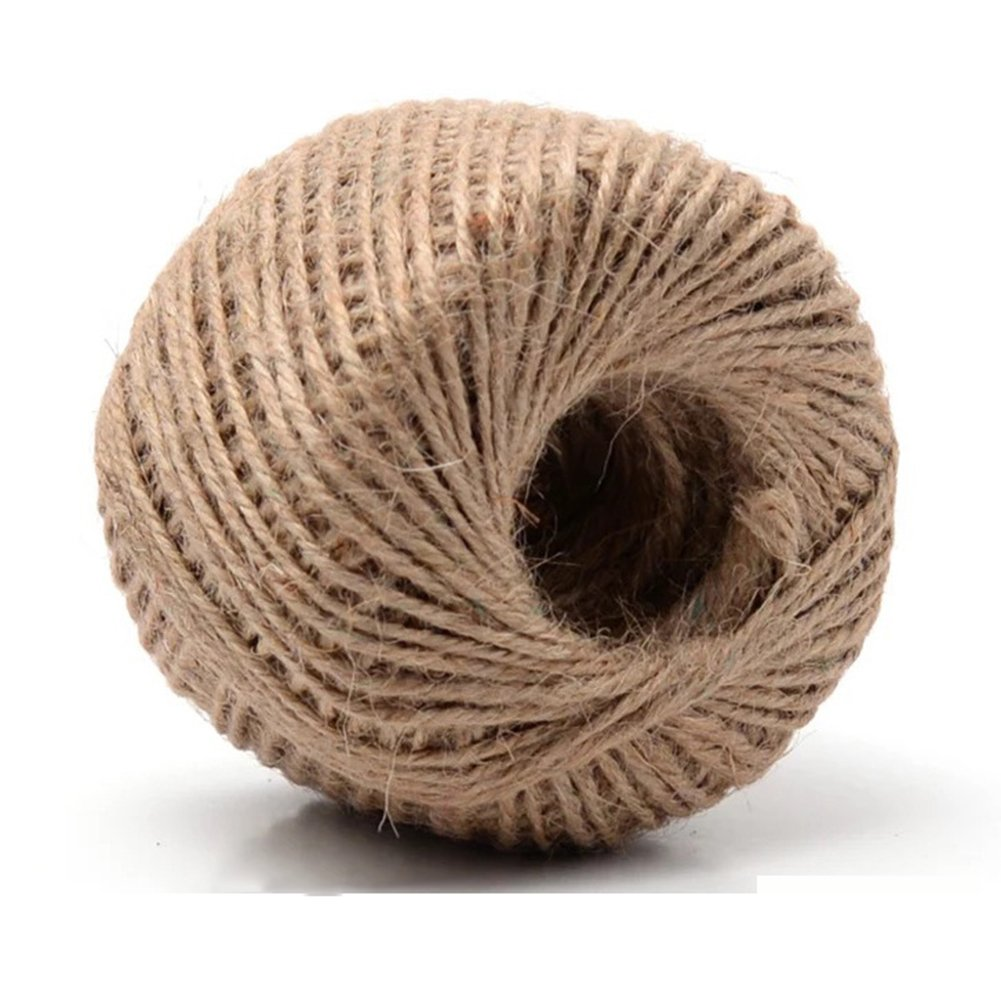 328 Feet (100m) Natural Rustic Jute Twine Jute Yarn String Hessian Rope Cord DIY For Drawstring Decor Antique Craft Wedding Gift Tags Wrapping Gardening Projects 2MM Keersi