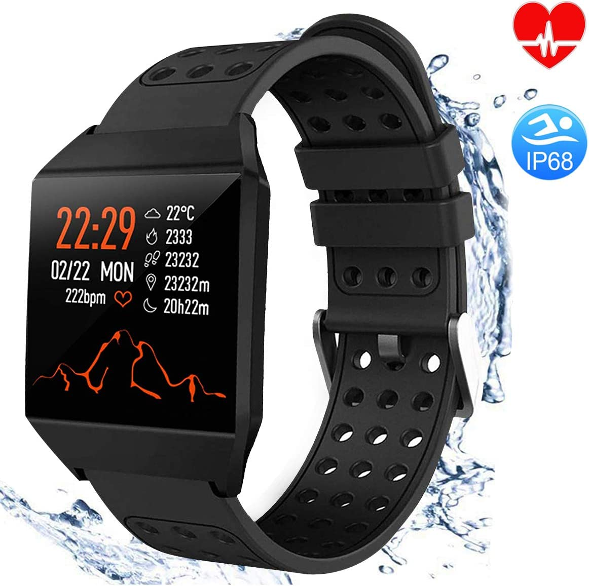 TagoBee TB10 Fitness Tracker IP67 Waterproof Smart Watch with Heart Rate Monitor Pedometer Calories Counter Touch Screen Bluetooth Smartwatch for ...