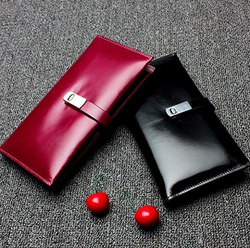 Echtes Leder Geldbörse mit Smartphone Tasche, ACMEDE Edle Topp-moderne Portemonnaie Kreditkartenetui Kartenhülle Ausweistasche Brieftasche Bankkartentasche Universal für Damen und Herren ( Schwarz ) Lila 2