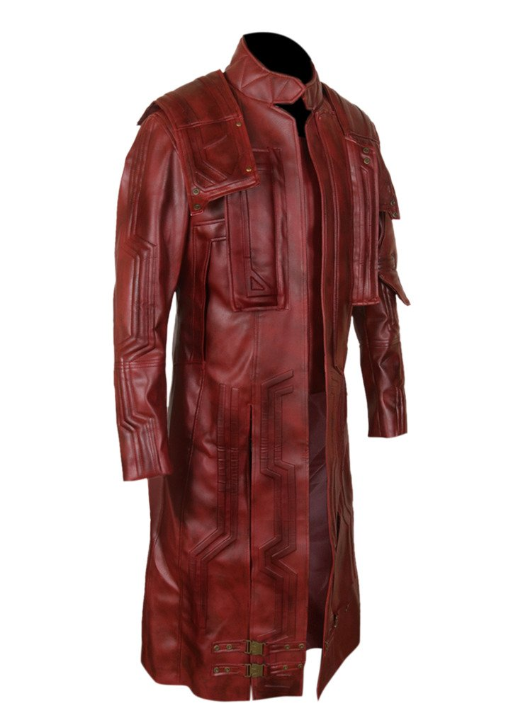 F&H Men's Genuine Leather Guardians of the Galaxy Vol 2 Chris Pratt Star Lord Coat L Maroon