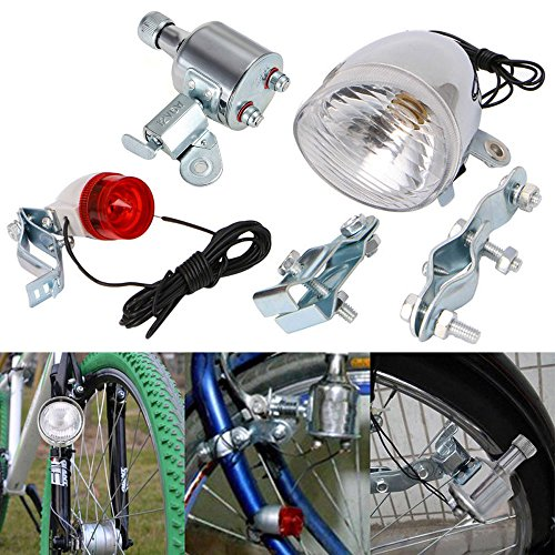 Motorized Face - Light, Hatop 12V 6W Bicycle Motorized Bike Friction generator Dynamo Headlight Tail Light Kit