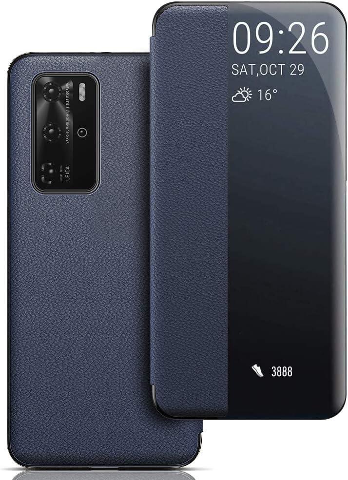 Funda Huawei P40 Pro Azul Ventana Carcasa Huawei P40 Pro Flip Cover Auto Wake//Sleep Smart View Window Caso Funda de Cuero PU Premium para Huawei P40 Pro