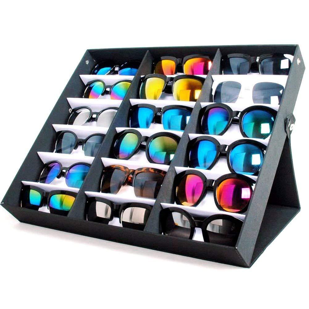 Yumbyss - ブランドの新しいサングラス表示ボックス18サングラスメガネ小売店の表示ストレージボックスケーストレイブラックスタンド B07H4H6WH3