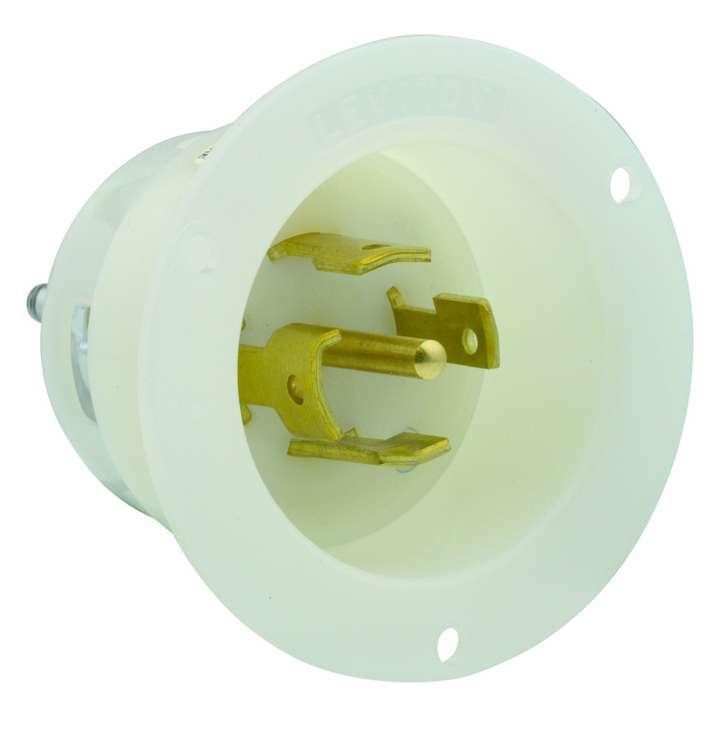 Leviton 2815 30Amp, 120/208 Volt- 3PY, Flanged Inlet Locking Receptacle, Industrial Grade, Grounding, White