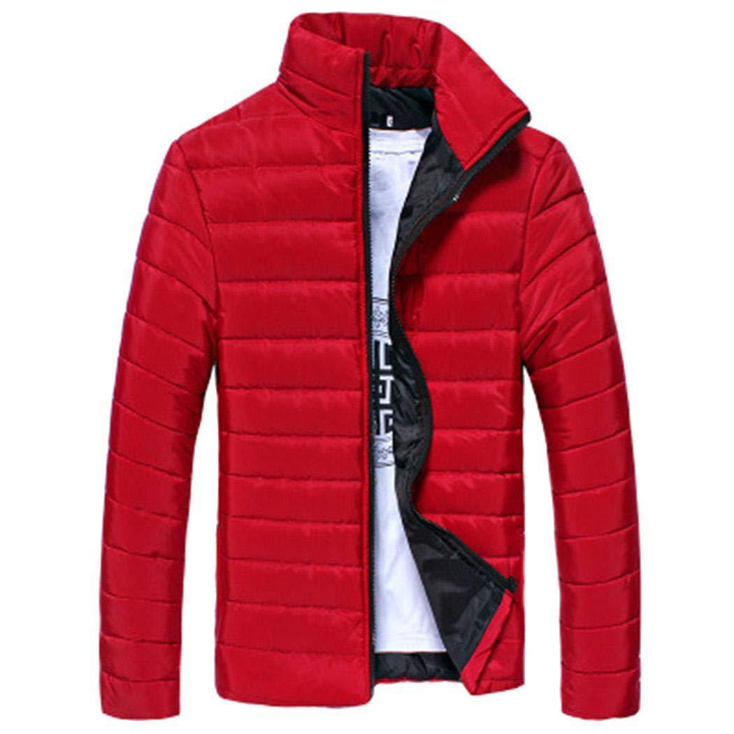 Nessere Men Winter Warm Stand Collar Long Sleeve Zip Coat Jacket Outwear Down