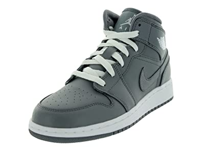 de1ab6265efb5 Jordan Nike Kids Air 1 MID (GS) Cool Grey White Cool Grey