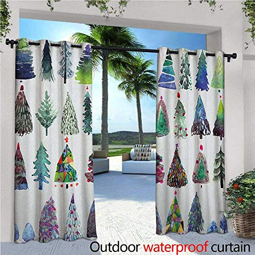Christmas Patio Curtains Big Collection of Watercolor Christmas Fir Trees Artistic Abstract Silhouettes Outdoor Curtain for Patio,Outdoor Patio Curtains W96 x L84 Multicolor -
