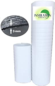 """SmartSHIELD -3W 48""""x100ft Reflective Insulation roll, Foam Core Radiant Barrier, Thermal Insulation Shield, Commercial Grade -3MM (48"""" x 100' -White)"""