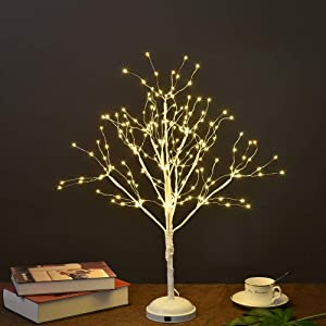 Lightshare 24-inch Starlit LED Bonsai Tree Night Light,Warm White, 210 LED Lights, Battery Powered or DC Adapter(Included)