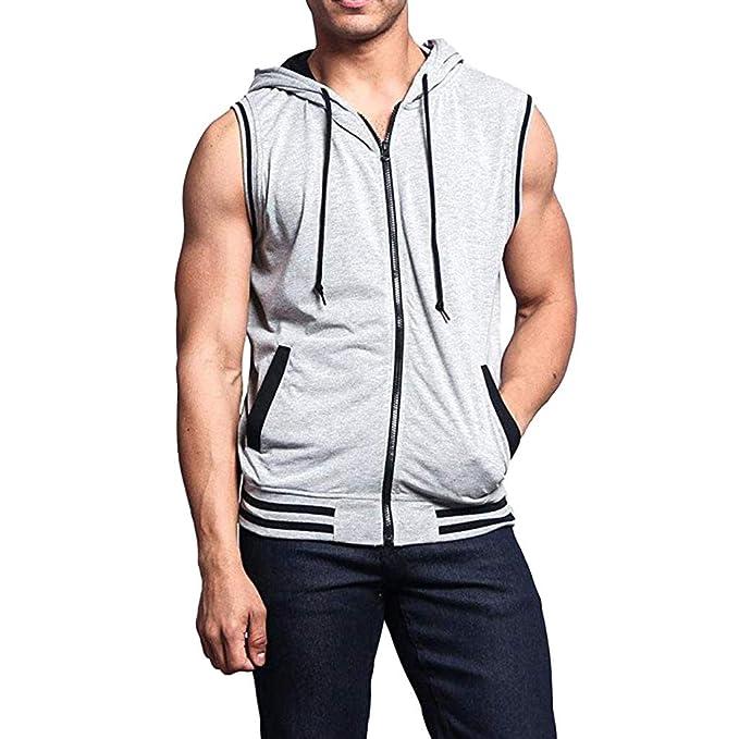 SamMoSon2019 Camiseta con Capucha de Tirantes Deportes para Hombre, Tops Camisa sin Mangas de Verano Fitness: Amazon.es: Ropa y accesorios