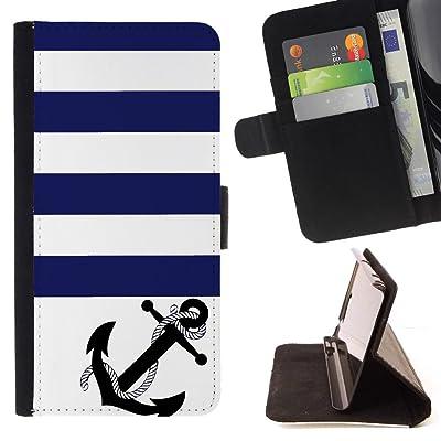 FJCases Ancla Franjas Estampado (Azul Naval) Carcasa Funda Billetera con Ranuras para Tarjetas y Soporte Plegable para HTC U11
