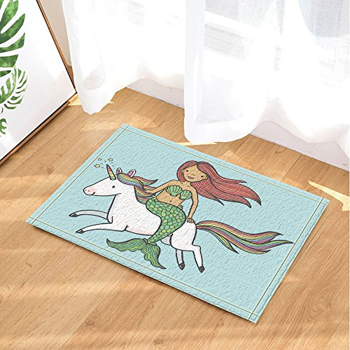 NYMB Turquoise Decor, Cute Mermaid Girl Riding A Unicorn For Kids Bath  Rugs, Non