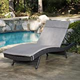Salem Outdoor Grey Wicker Adjustable Chaise Lounge with Charcoal Cushion by Christopher Knight Home