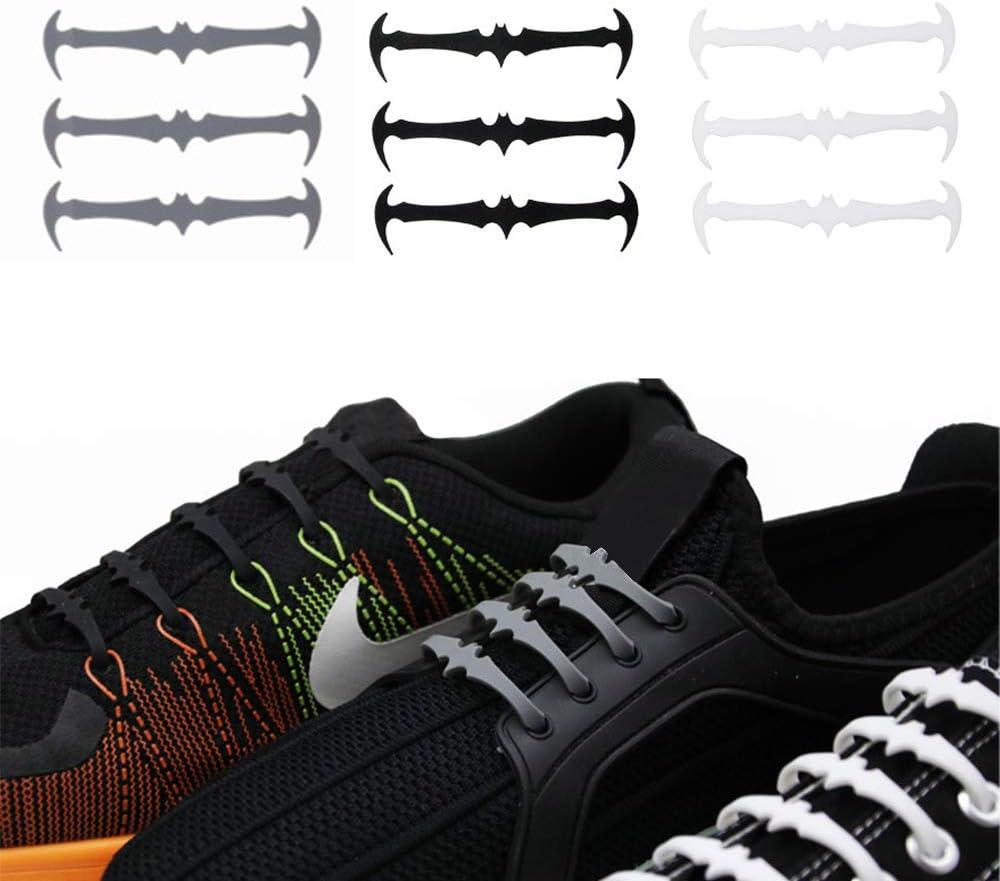 RLQ Cordones de Silicona para Zapatos sin Atar, elásticos, sin Lavado, para Adultos, Zapatillas, Zapatos Informales, Botas, 3 Paquetes (Negro, Blanco, Gris): Amazon.es: Deportes y aire libre