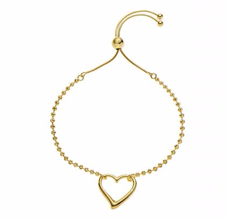 925 Sterling Silver Italian Heart Love Symbol Charm Adjustable Diamond Cut Beads Bracelet for Women Gift for Christmas Day