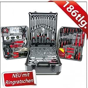 Swiss Kraft–Set de 186herramientas con llaves de carraca, en maletín portaherramientas