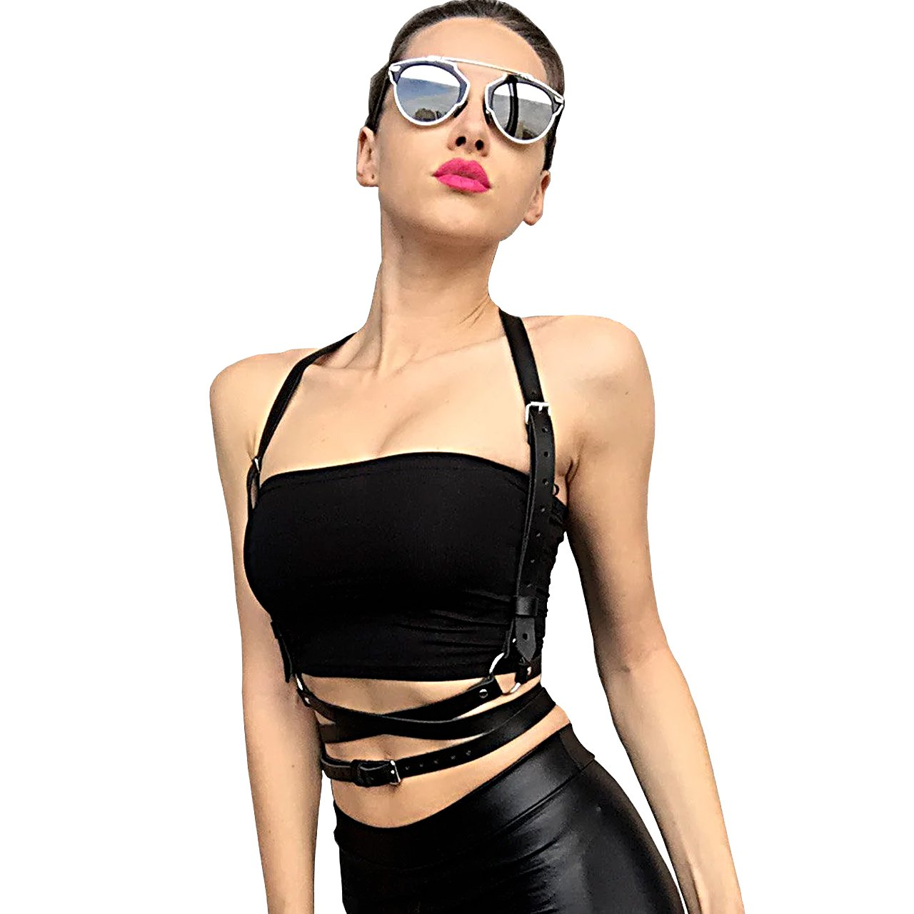 Homelix Punk Leather Body Chest Straps Waist Harness Straps Adjustable For Women (style 3)