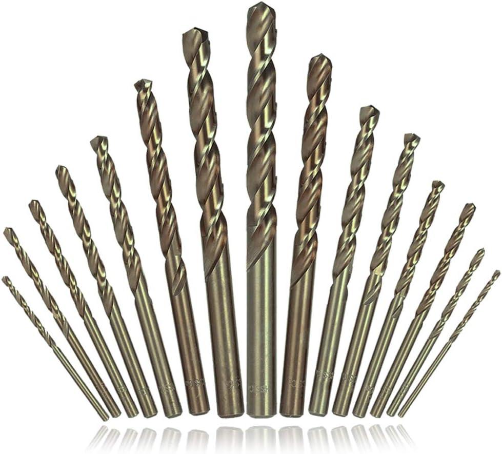 AFUNTA - Juego de 15 brocas helicoidales HSS, puntas de vástago recto para metal duro, acero inoxidable, hierro fundido, madera, aluminio, titanio
