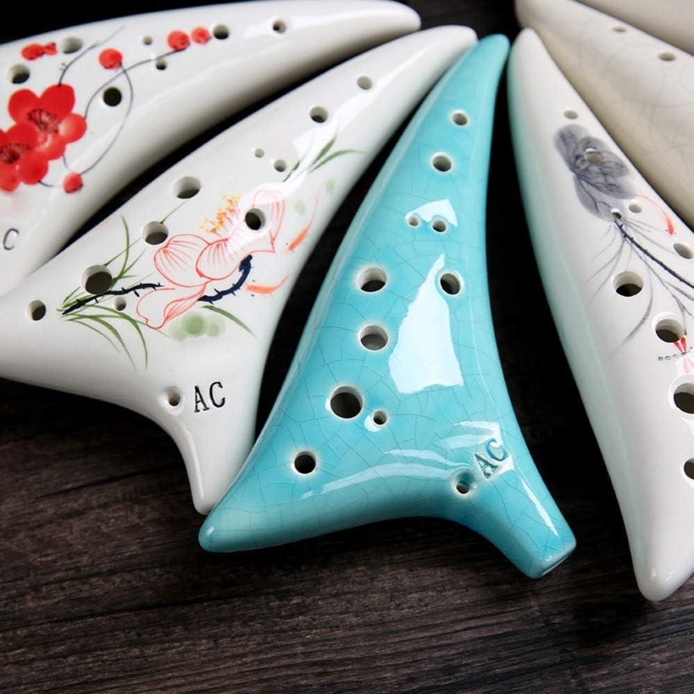 Leepesx Strumento musicale in stile stellato Ocarina Alto C a 12 fori in ceramica con cordino per spartito Borsa protettiva per amante della musica e discente