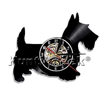 Scotty perro corte láser reloj de pared de disco de vinilo animales perro reloj colgante vintage, decoración del hogar hecha a mano, regalo para amantes de ...