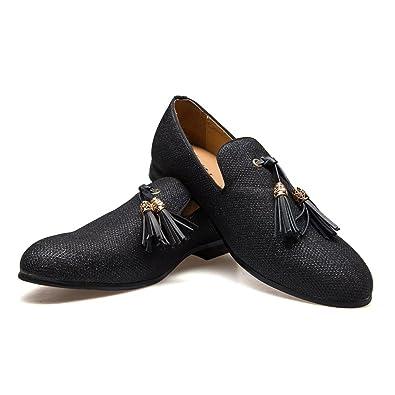 Zapatos Mocasines de Metal de Terciopelo Vintage de los Hombres Zapatos Slip-on holgazán de Fumar de mocasín: Amazon.es: Zapatos y complementos