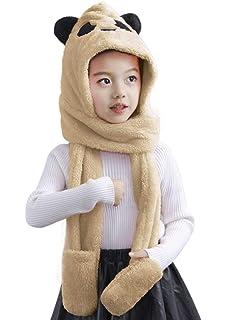 dfcb1fc8f Kids Baby Cartoon Winter Fleece Warm Earflap Hoodie Beanie Hat Scarf Gloves  Set