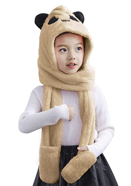 Kids Hat Scarf Gloves All in one Boys Girls Winter Warm hat Scarf Gloves Set Plush Faux Fur Head Trapper Hooded Cap hat Scarf Snood Gloves Mittens Earflap Hat Long Scarf 3 in 1 for Aged 3-13
