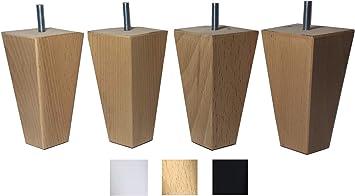 4 patas de madera maciza de haya 12 cm alta para muebles pies para renovar o elevar muebles sofás sillones butacas armarios somieres. Natural y negro ...